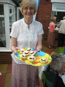 Beryl with a load of cakes